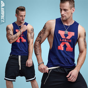 Aimpact Cotton Mens Tank Tops Sexy Fitness Bodybuilding Breathable Summer Singlets Slim Fitted Men's Tees Crossfit Tee XB13