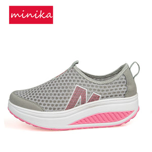 2017 Summer Mesh Breathable Women Toning Shoes Thick Soles Height Increase Slip-on Slimming Sneakers Loss Weight Sports Shoes