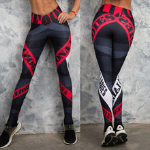 2018 Letter Printing Yoga Pants Women Sexy Red Striped Gym Sport Leggings Tight Fitness Athletic Leggings Sportswear