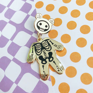 Skeleton Bear Enamel Pin (Black And Gold)