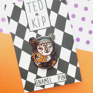 Halloween Mama Bear Pin (Black Glitter)