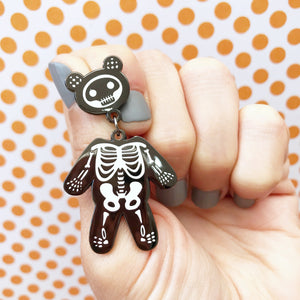 Skeleton Bear Enamel Pin (White and Gunmetal)