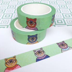 Green Cats With Glasses Washi Tape