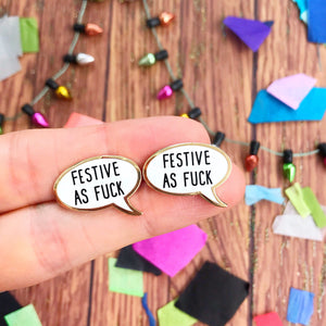 Festive As Fuck Enamel Stud Earrings