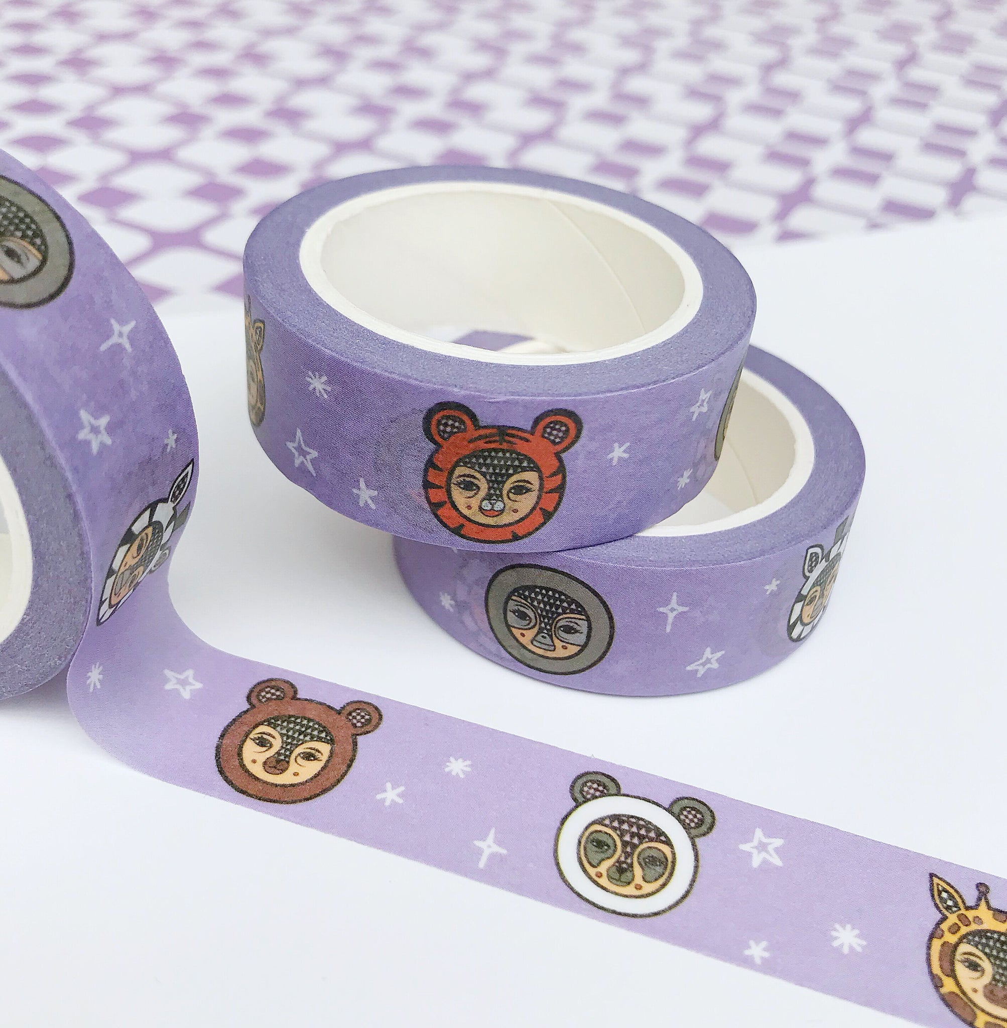 Purple Animal Faces Washi Tape