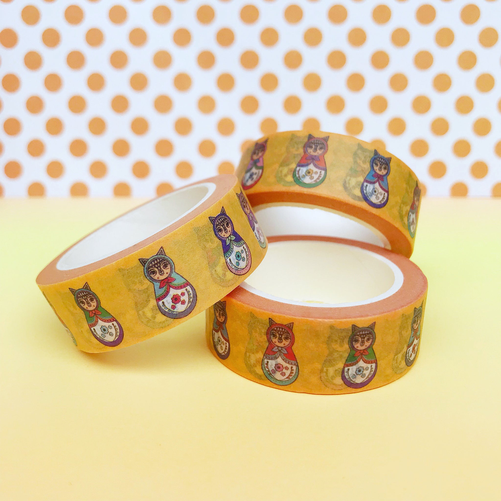 Yellow Cat Russian Doll Washi Tape