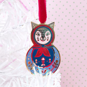 Cat Russian Doll Enamel Tree Decoration (blue)