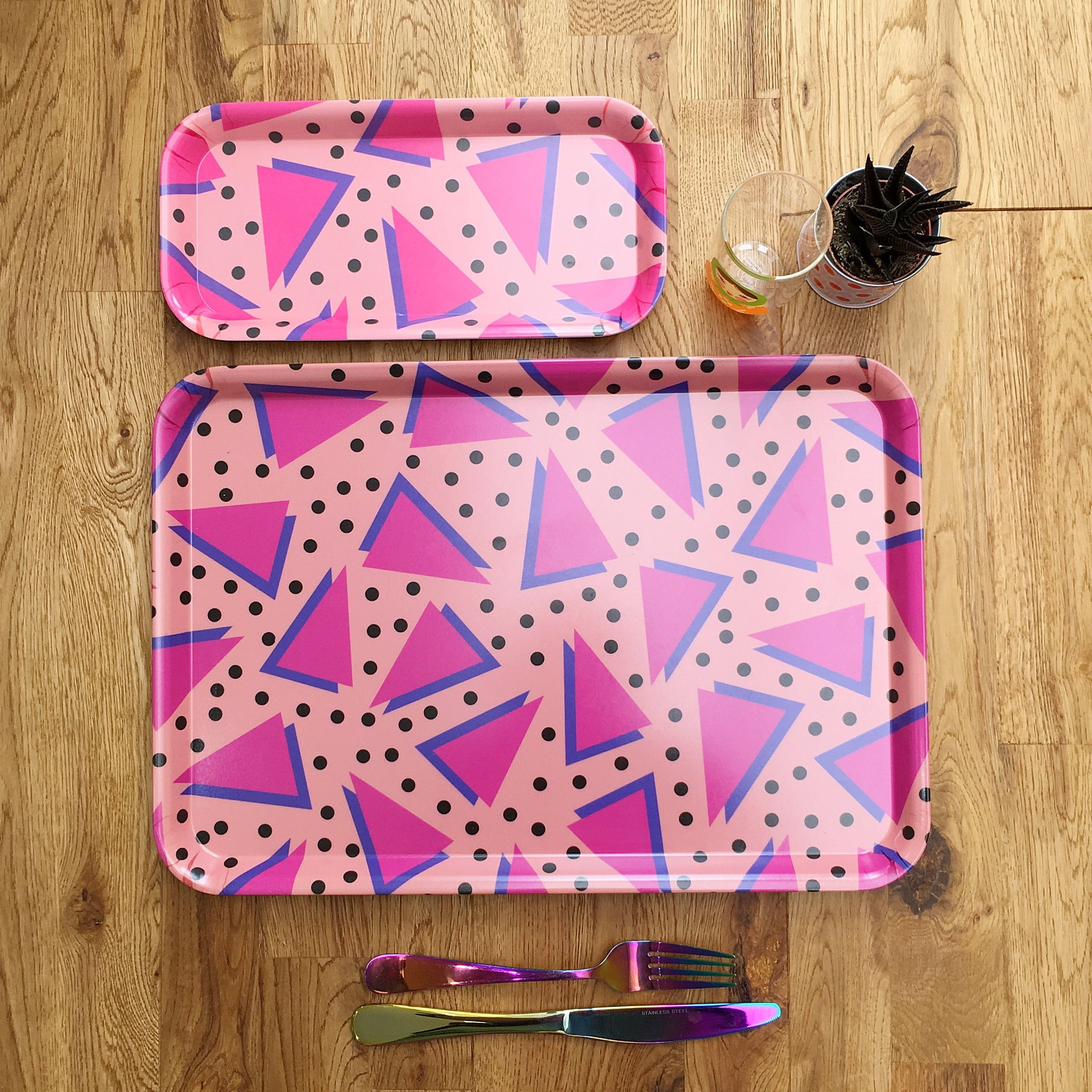Dotty Pink Melamine Tray