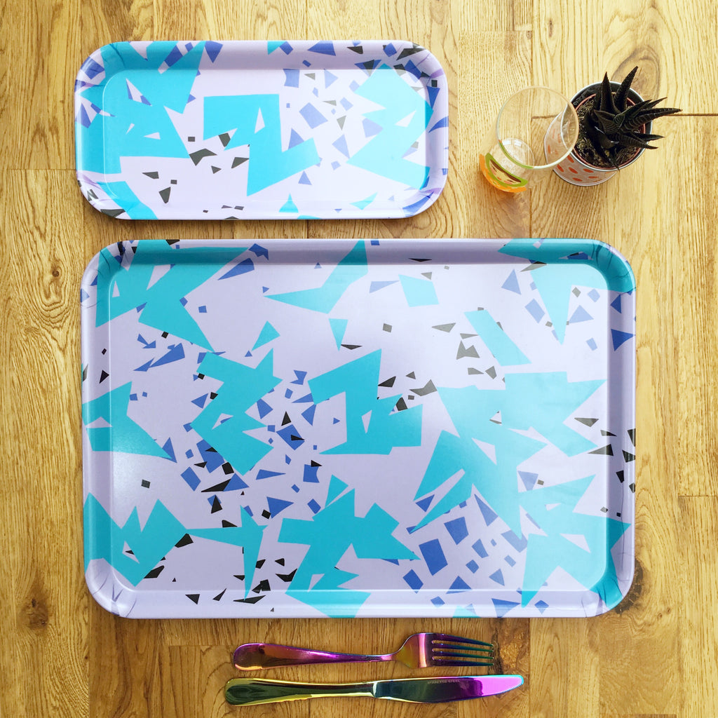 Abstract Purple Melamine Tray