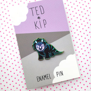 Dinosaur Enamel Pin (Black & Rainbow Metal)