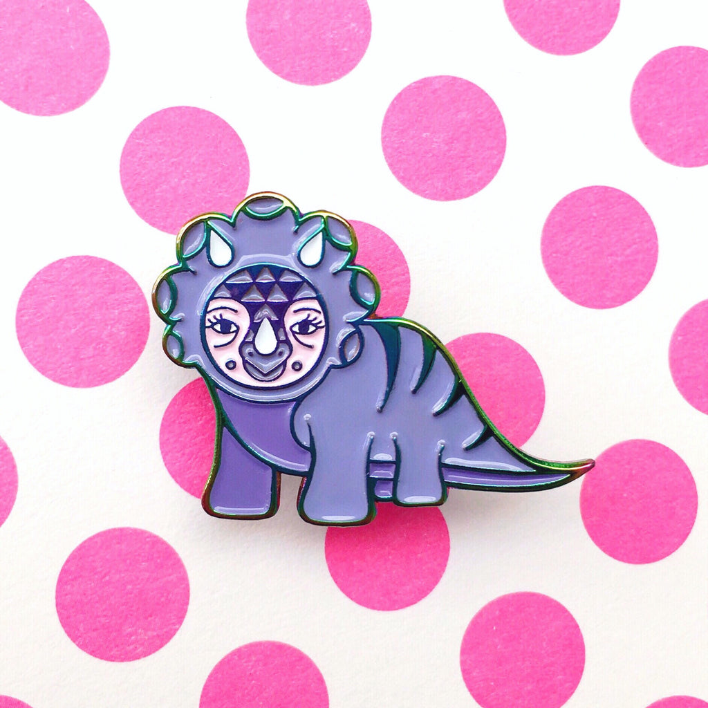 Dinosaur Enamel Pin (Purple & Rainbow Metal)