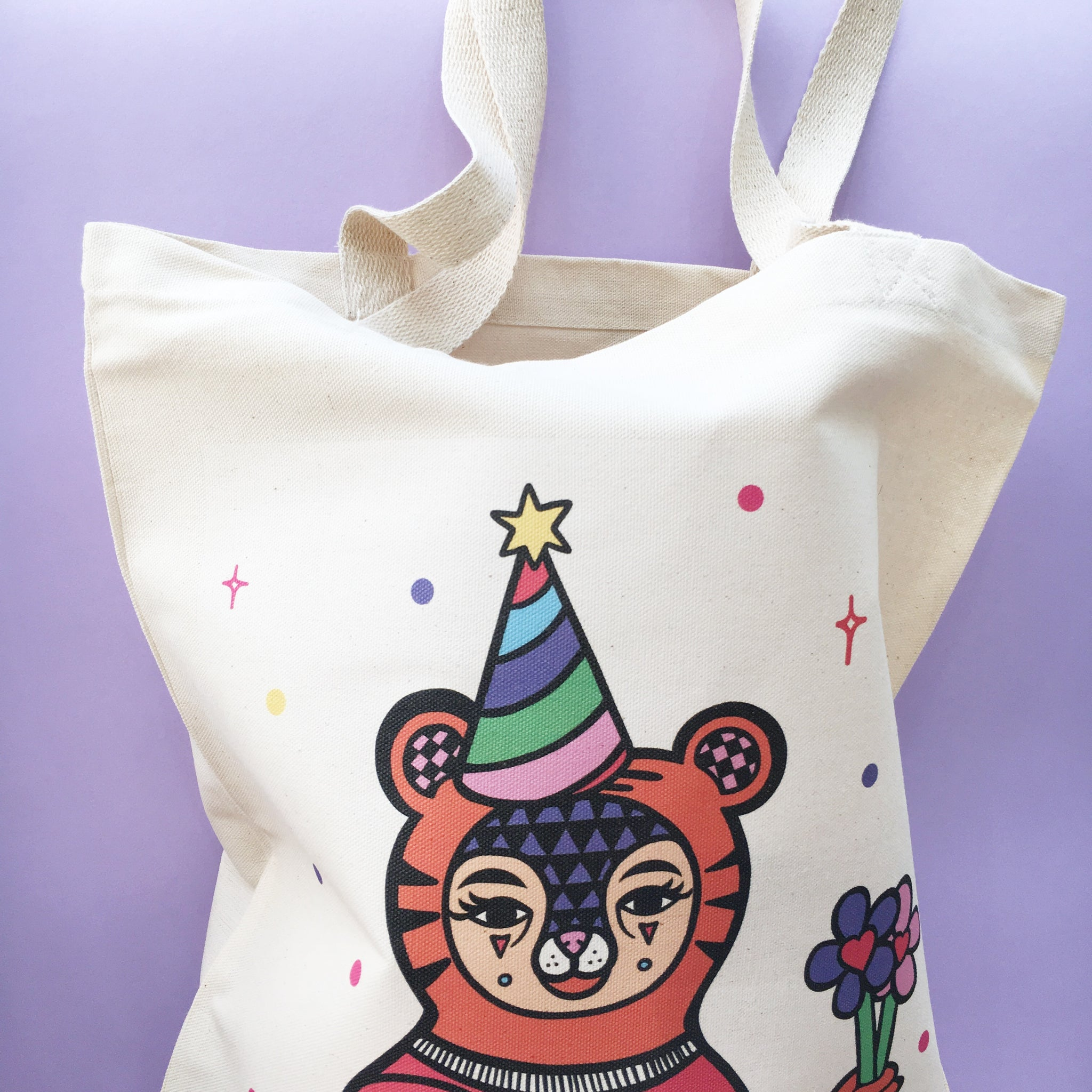 Tiger Clown Canvas Tote Bag