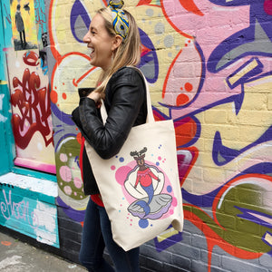 Mermaid Deer Canvas Tote Bag