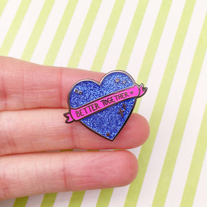 Better Together Glitter Heart Pin (Purple)