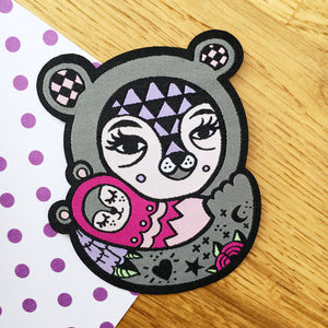 Mama Bear Woven Patch (Grey)