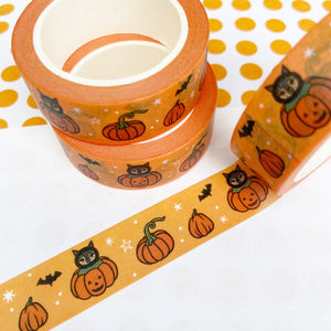 Orange Pumpkins And Black Cat Washi Tape
