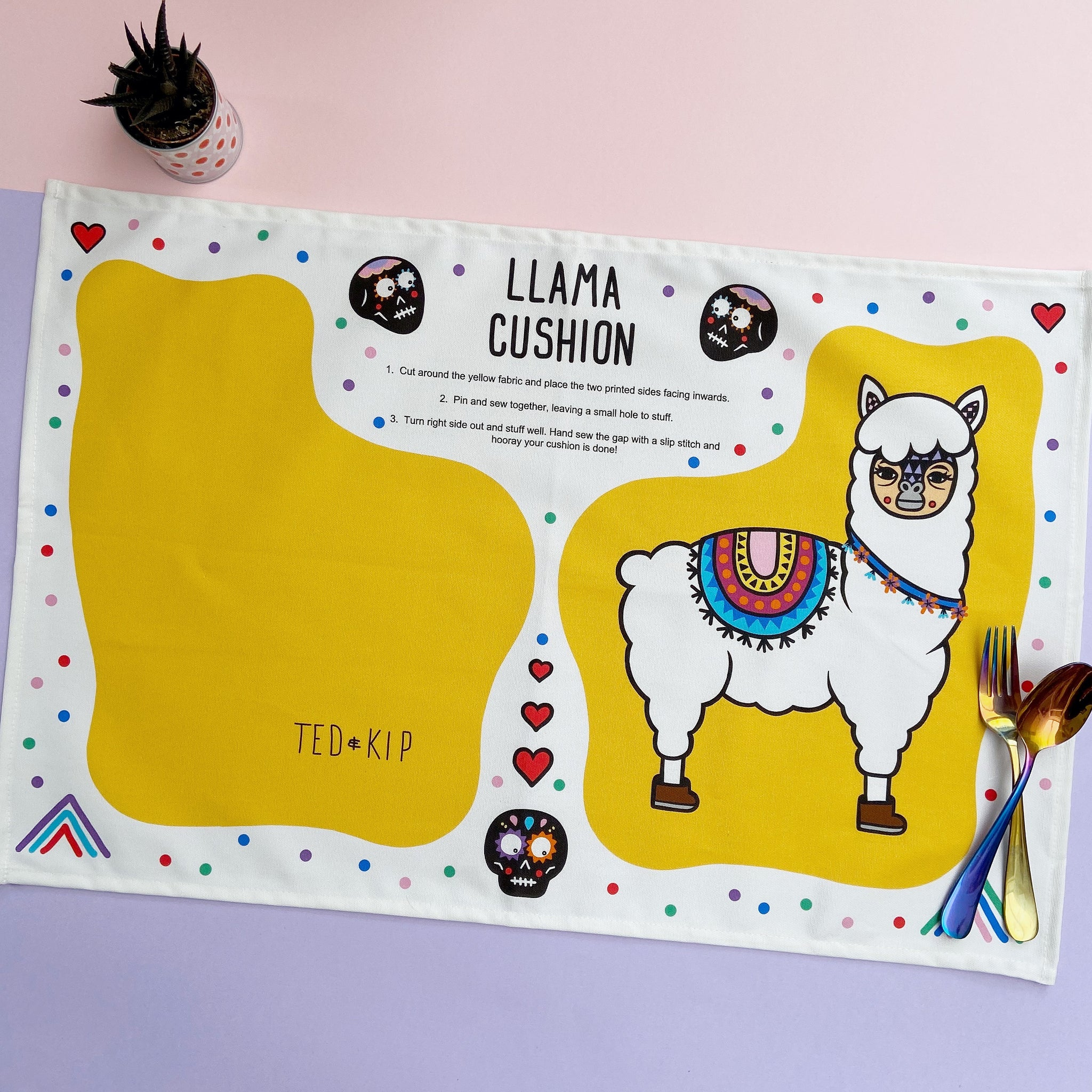 Llama Cut And Sew Cushion Tea Towel