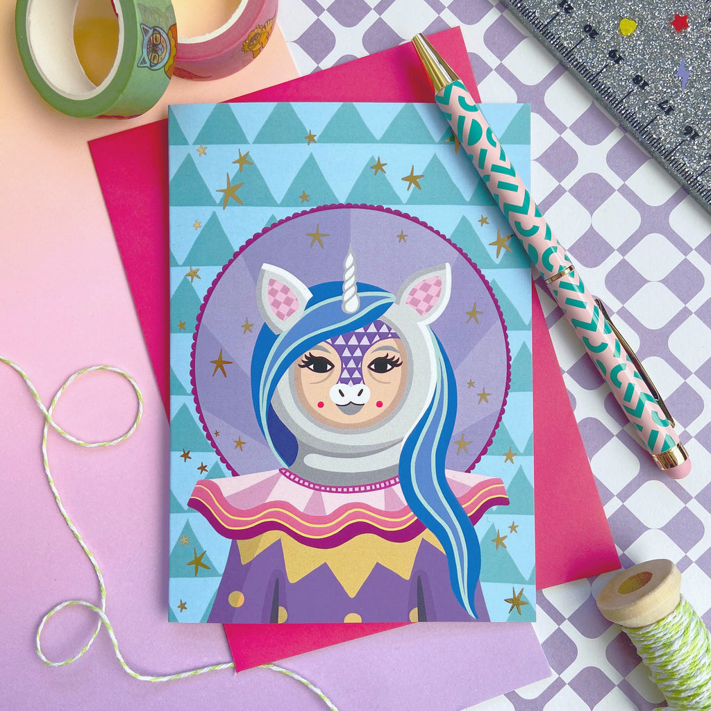 SALE Unicorn Clown Gold Foil Card