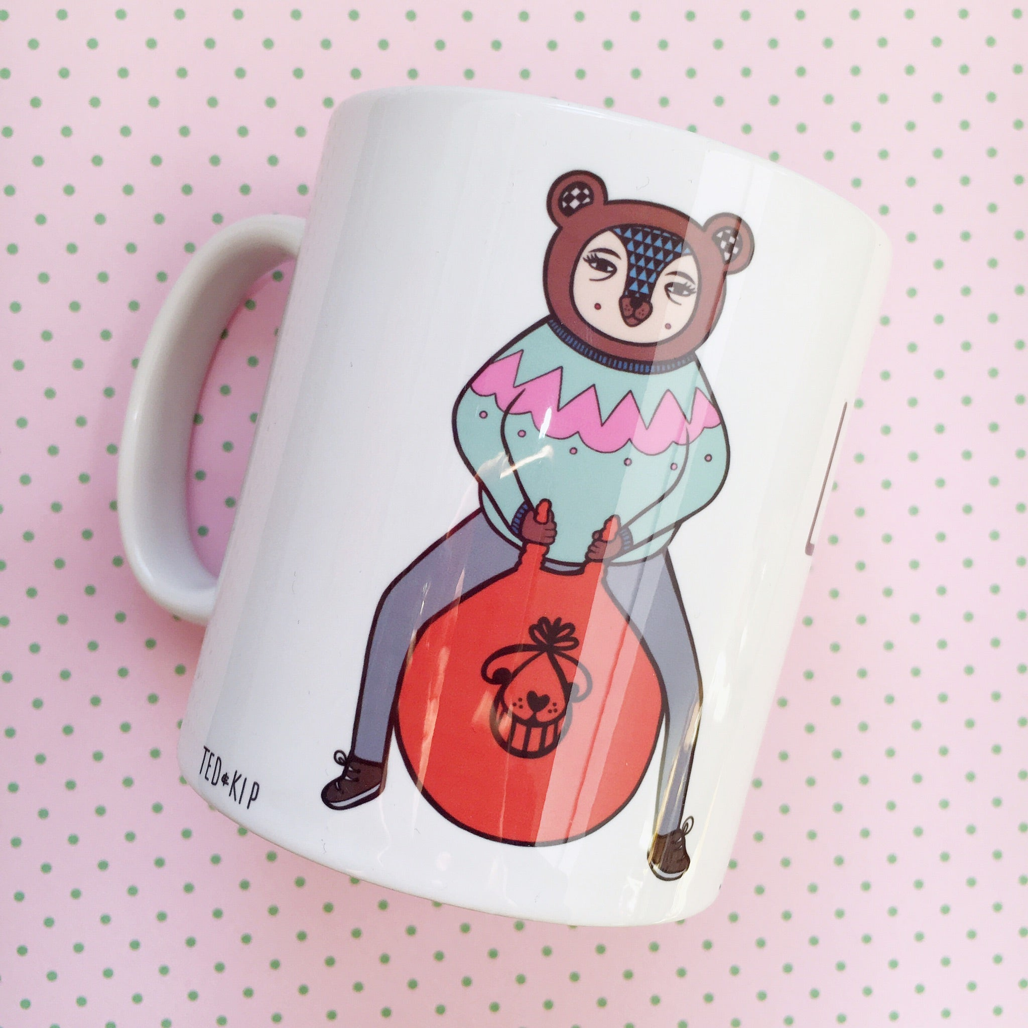 Bear On A Space Hopper (Let's Do This!) Mug