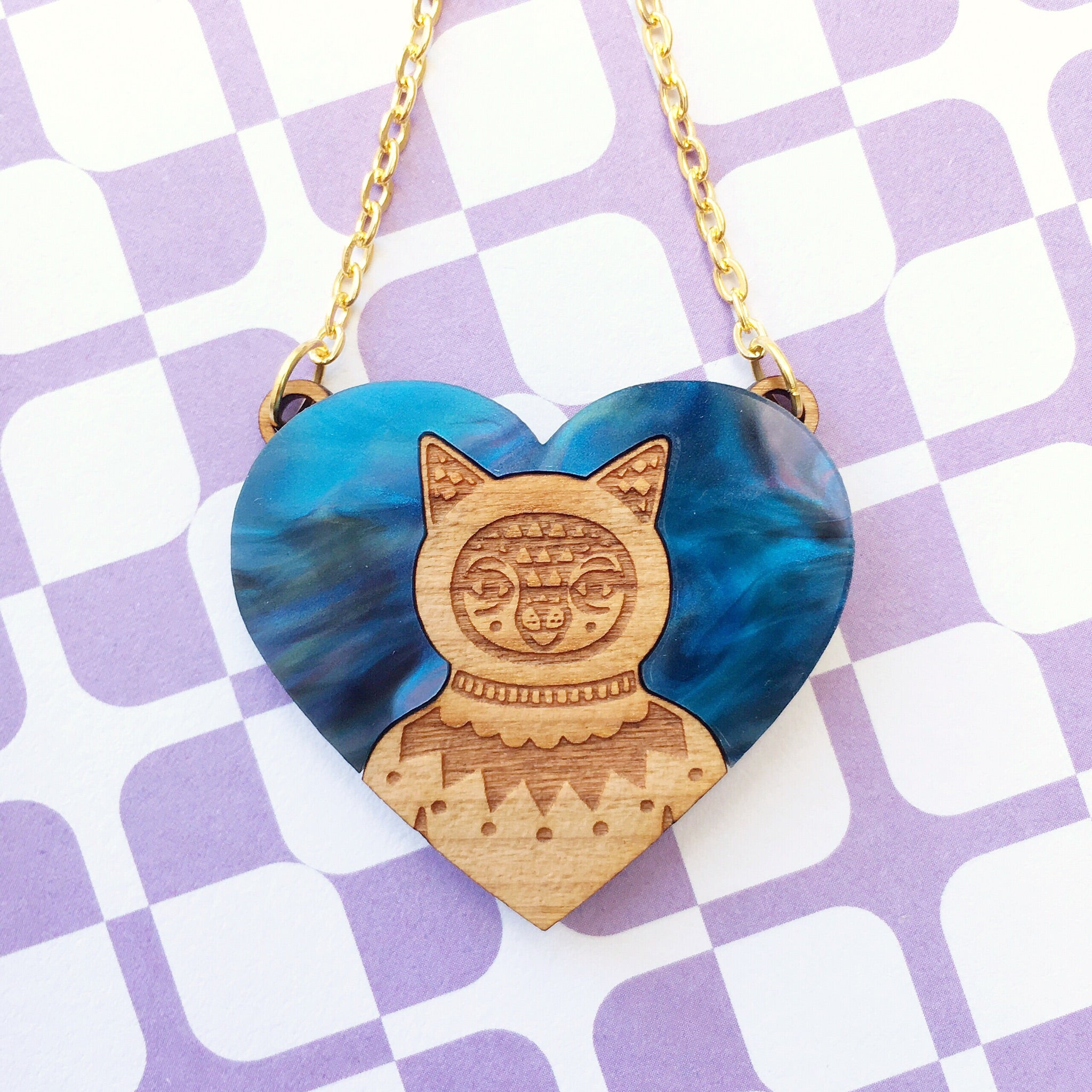 Cat Necklace (Acrylic & Wood)