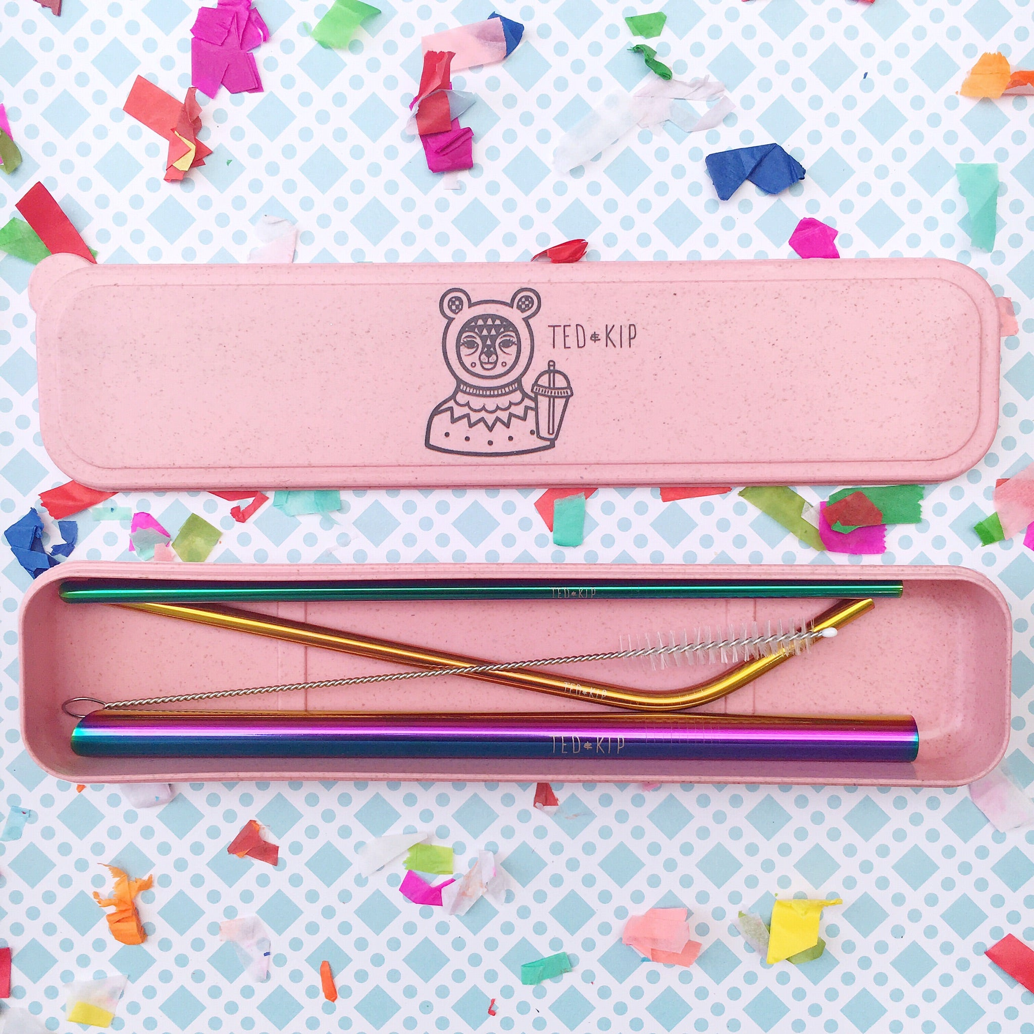 Rainbow Metal Straw Set With Pink Eco Wheat Plastic Carry Case