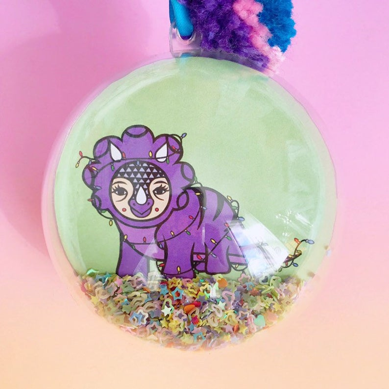 Dinosaur Glitter Filled Christmas Bauble (Triceratops)