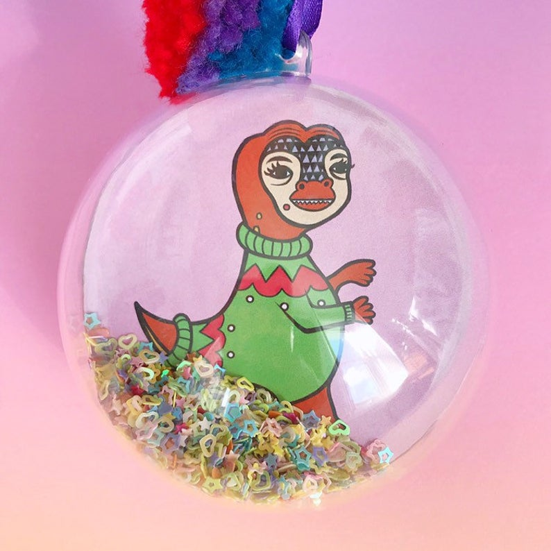 Dinosaur Glitter Filled Christmas Bauble (T-Rex)