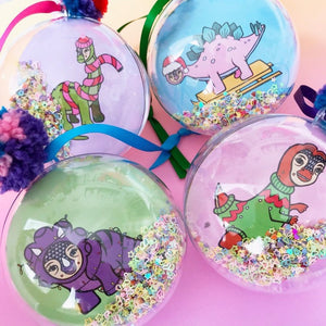 SET OF FOUR Dinosaur Glitter Filled Christmas Baubles