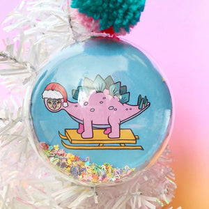 Dinosaur Glitter Filled Christmas Bauble (Stegosaurus)