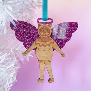 Angel Bear Christmas Tree Decoration (Pink)