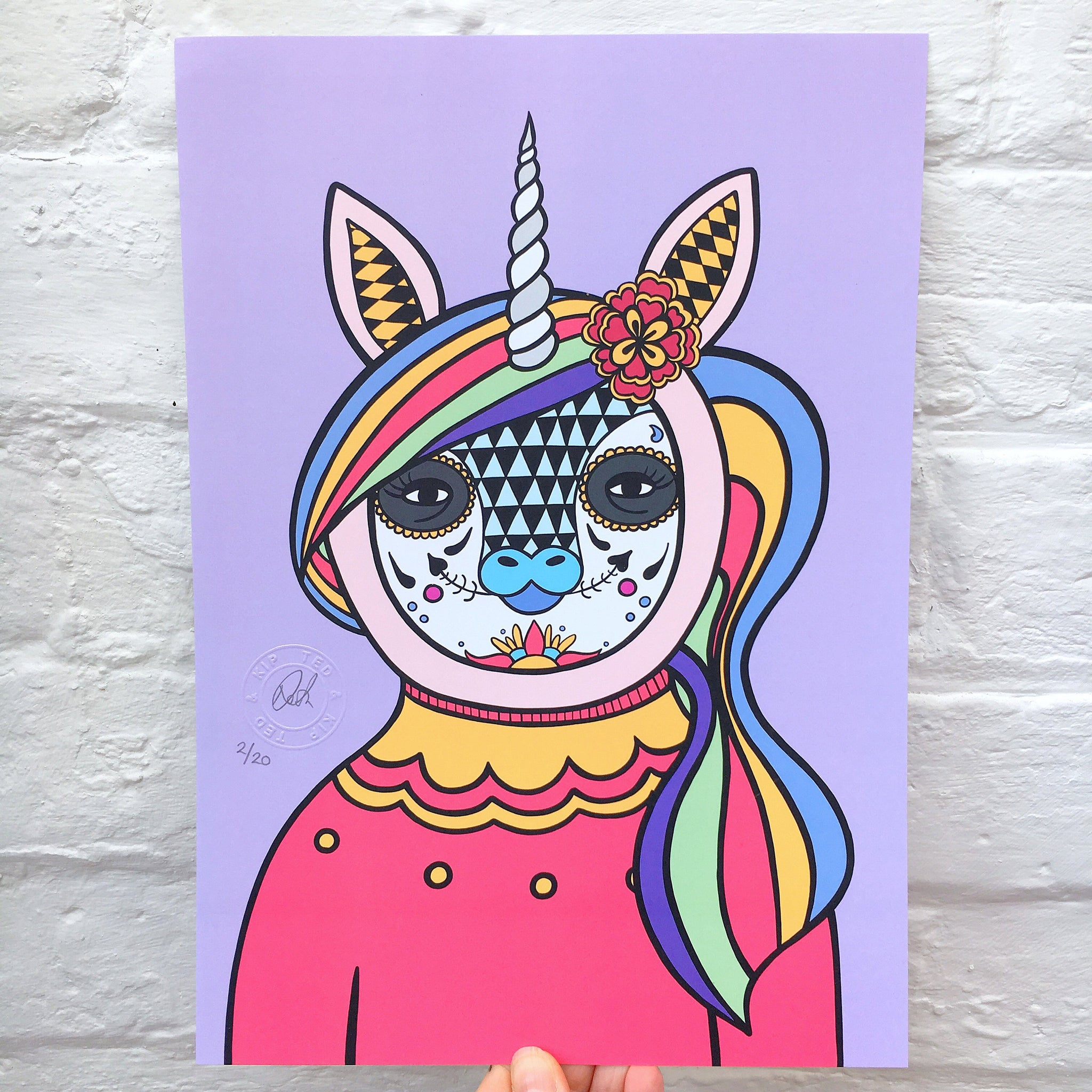 Day Of The Dead Unicorn Print