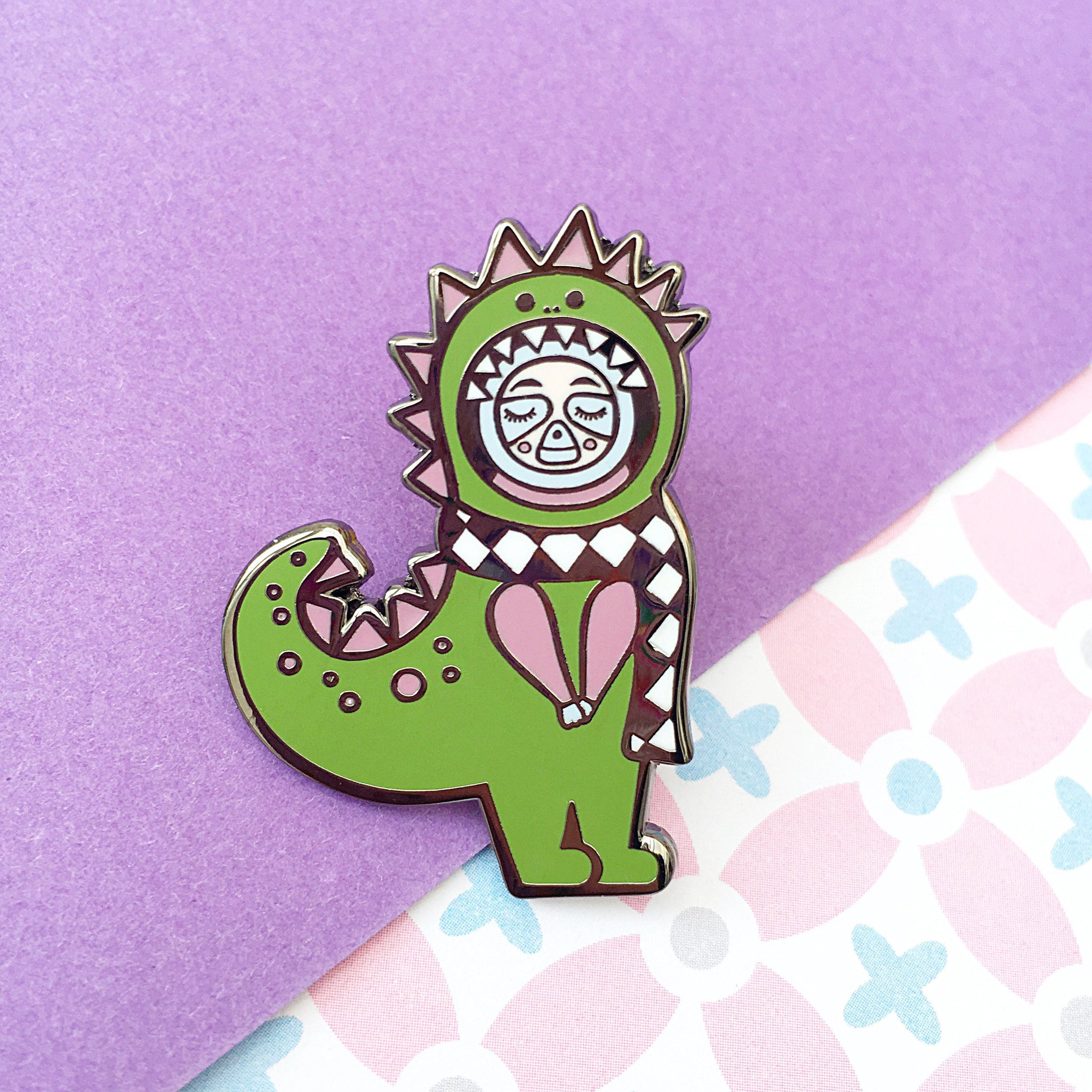 Dino Sloth Enamel Pin (Green)