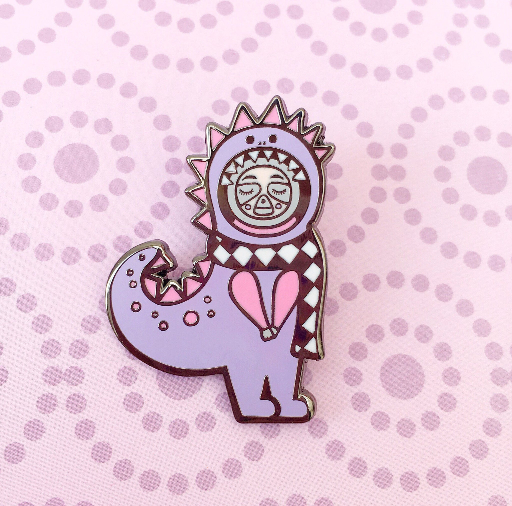 Dino Sloth Enamel Pin (Purple)