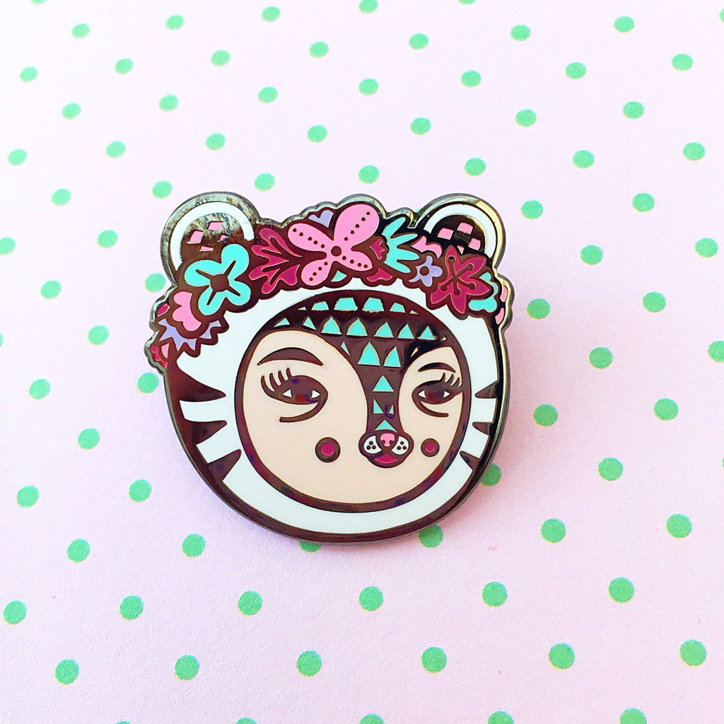 White Tiger Enamel Pin