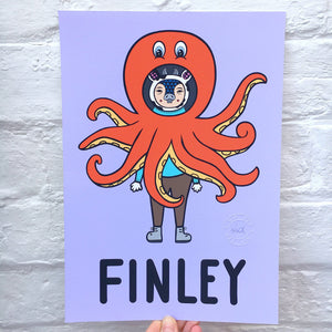 Personalised Name Print! Cow in Octopus Costume