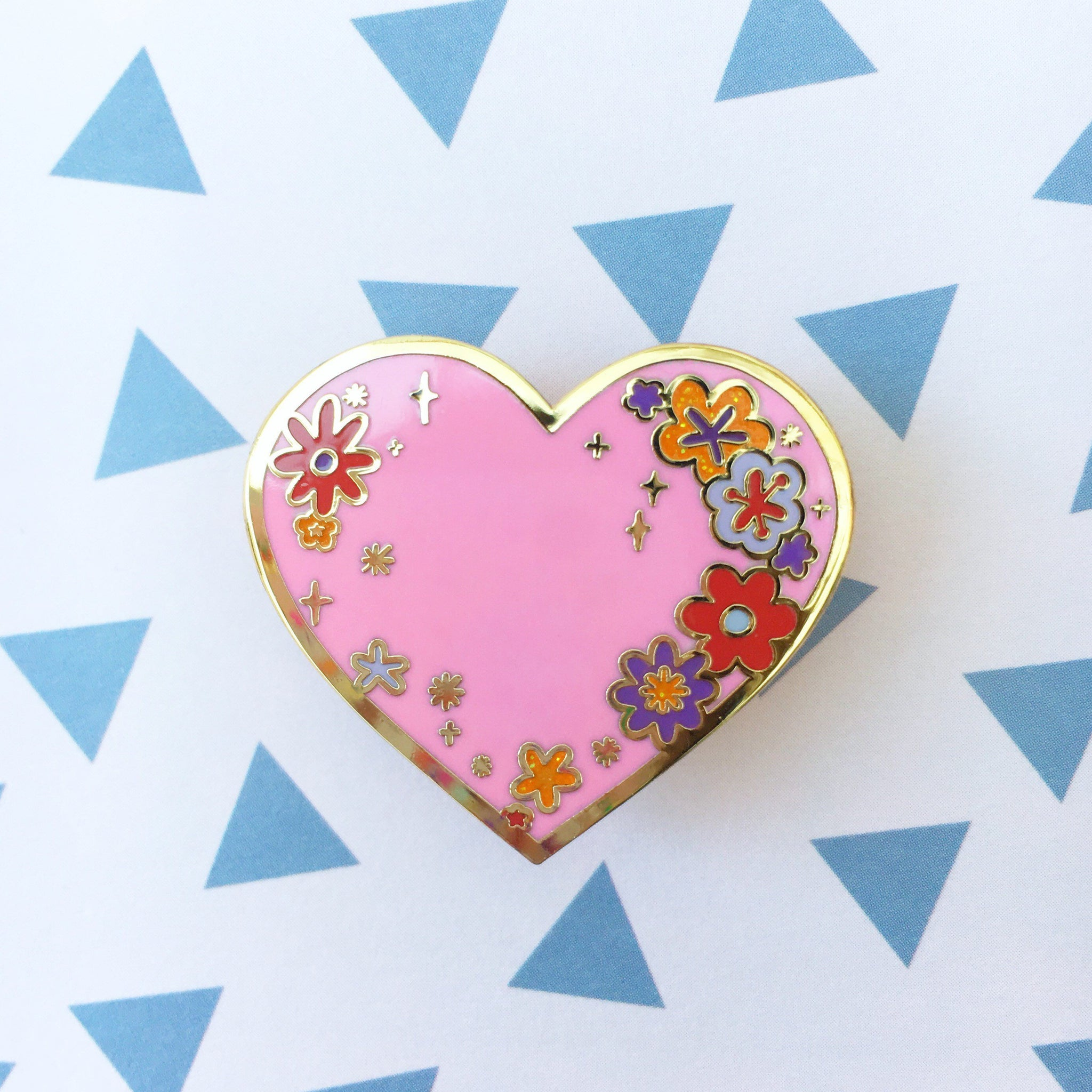 Flower Heart Pin (Pink)