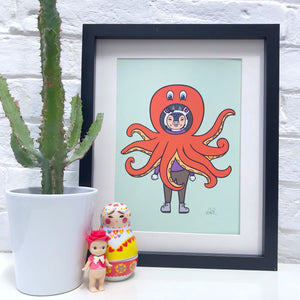 Cow in Octopus Costume Print