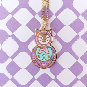 Cat Russian Doll Necklace (Pink)