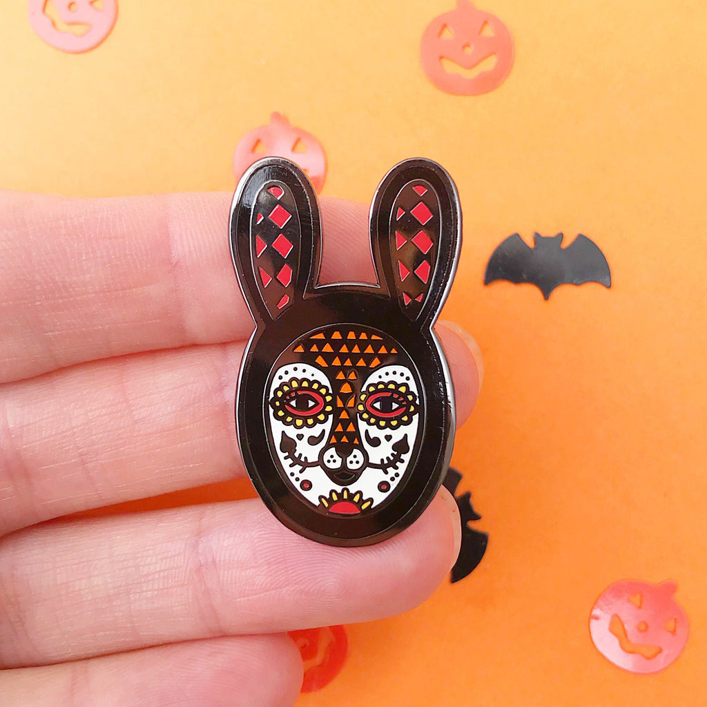 Glow In The Dark! Rabbit Skull Enamel Pin (Black)