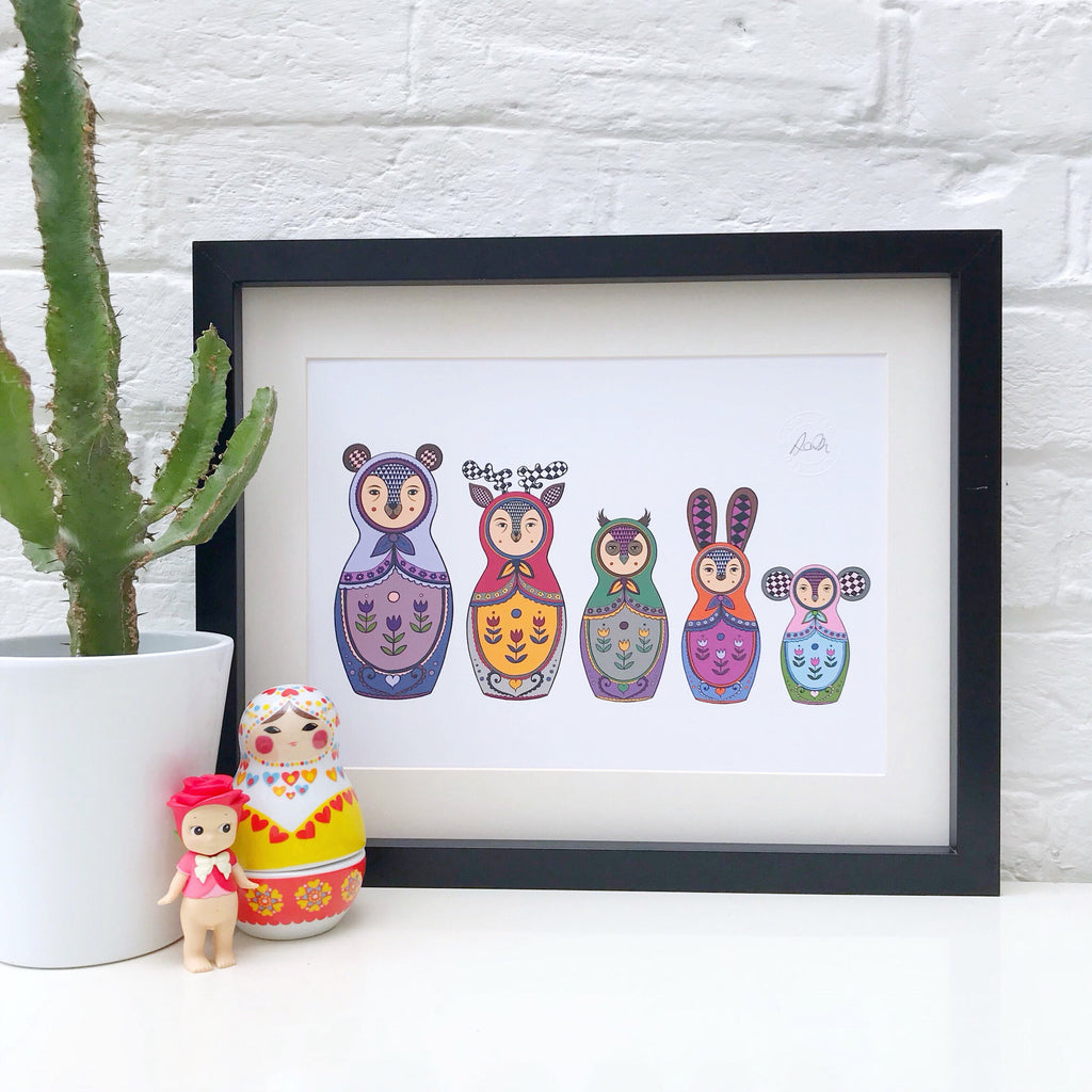 Woodland Animal Russian Doll Print