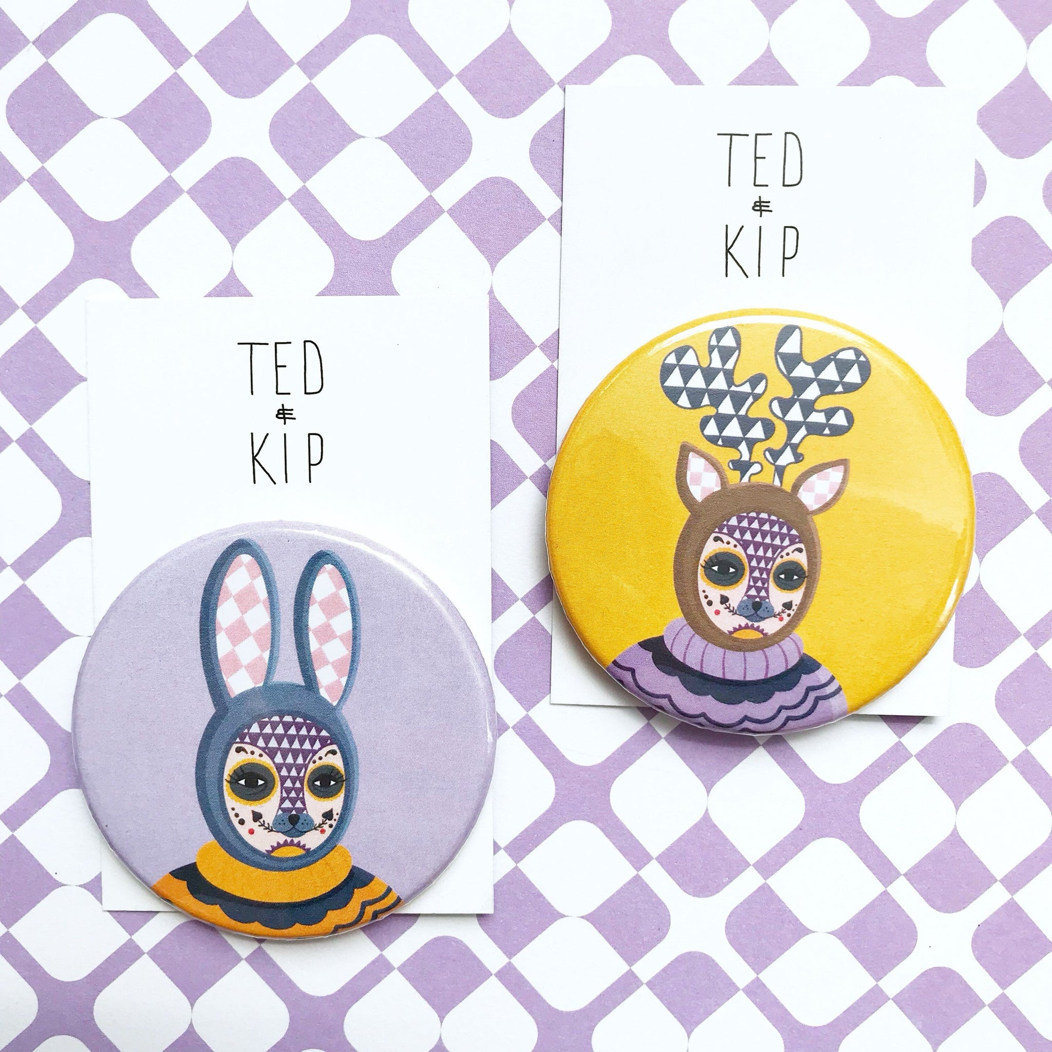 Day Of The Dead Rabbit & Deer Button Badge Set