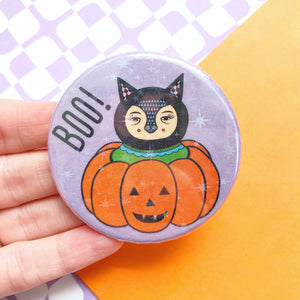 Cat In A Pumpkin Button Badge