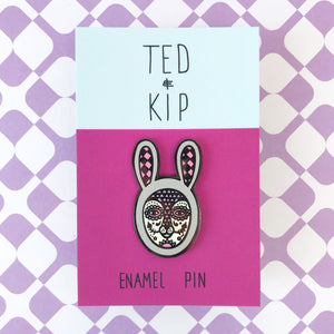 Glow In The Dark! Rabbit Skull Enamel Pin (Grey)