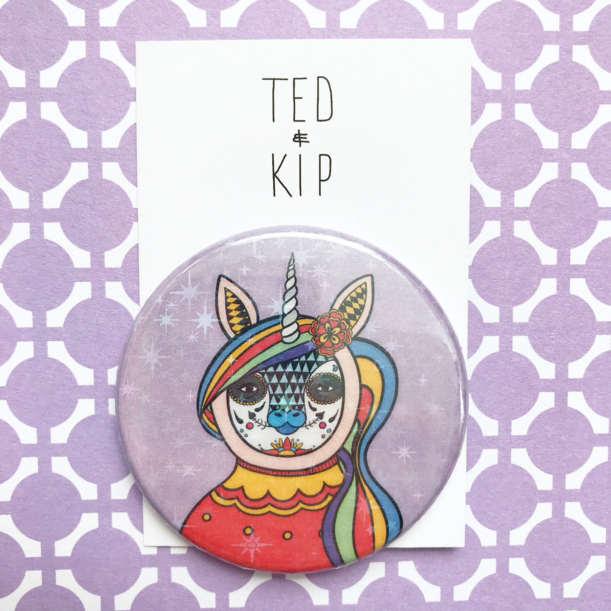 Day Of The Dead Unicorn Button Badge