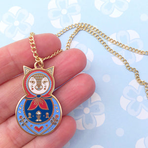 Cat Russain Doll Necklace (Blue)
