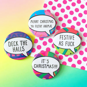 Set of 4 Christmas Button Badges