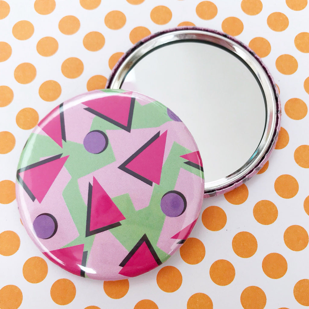 Geometric 90s Print Pocket Mirror (Pink)