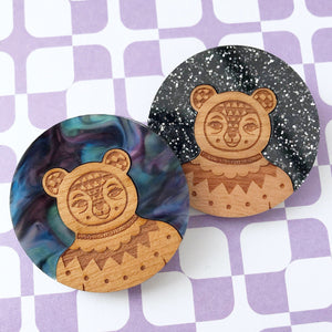 Glitter / Galaxy Bear brooch (Acrylic & Wood)