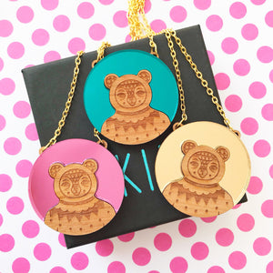 Mirrored Bear Necklace (Acrylic & Wood)