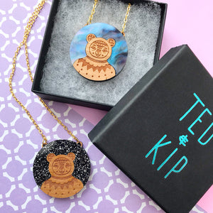 Glitter / Galaxy Bear Necklace (Acrylic & Wood)